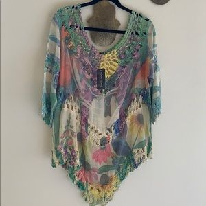 New Dor Dor Couture Boho Bohemian Blouse XL